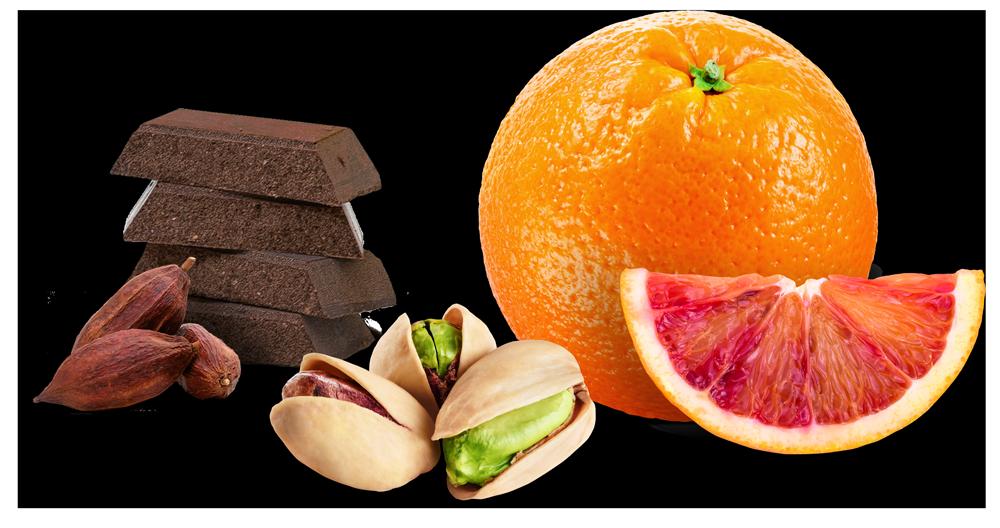 Cioccolato, arancia e pistacchiio